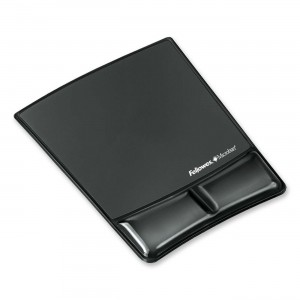 Fellowes Mouse Pad / Wrist Support with Microban Protection, Black (9182301)