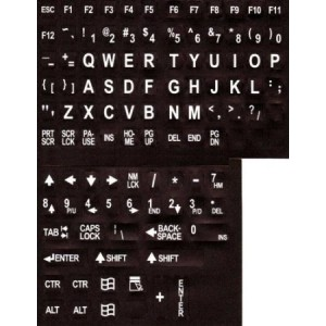 Aramedia Large Print English Keyboard Stickers Labels Overlays (Lexan polycarbonate, 3M adhesive) for the V