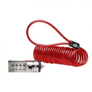 Kensington Combination Portable Cable Lock for Laptops and Other Devices - Red (K64671AM)