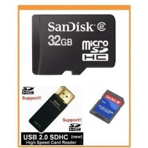 SanDisk 32GB MicroSDHC Memory Card with Adapter (Bulk Package) + USB2.0 High Speed Memory Card Reader/Writer