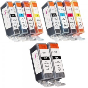 Sophia Global 10 Pack Compatible Ink Cartridge Replacement for Canon PGI-220 and CLI-221 (2 Large Black C-220, 2 Small Black C-221, 2 Cyan, 2 Magenta, 2 Yellow)
