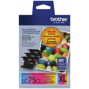 Brother Printer LC753PKS 3 Pack- 1 Each LC75C, LC75M, LC75Y Ink