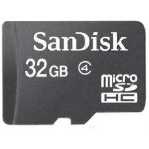 Sandisk 32GB Class 4 MicroSDHC MicroSD C4 TF Flash Memory Card with SD Adapter and USB SD Card Reader / Writer #R13 (Bulk Packaged)