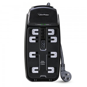 CyberPower CSP806T Surge Protector 8-Outlets 6Ft Cord and TEL Protection 2250 Joules
