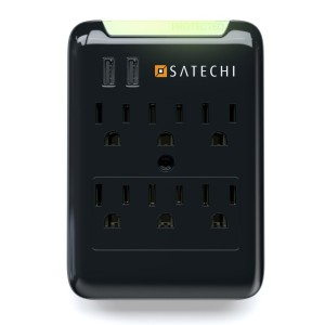 Satechi Slim Surge Protector Black (6 AC and 2 USB) 2.4 amp Output for Charging iPhone 6, 5S, 5C, 5, 4S, 4 iPad 1, 2 and 3, iPad Mini, Samsung Galaxy S5, S4, Tab 2, Blackberry Playbook, HTC Flyer