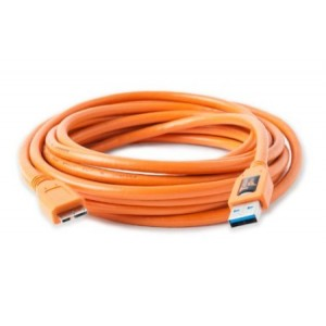 Tether Tools TetherPro USB 3.0 SuperSpeed Micro-B Cable, 15 feet, High-Visibility Orange