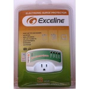 Exceline Electronic Surge Protector for Front and Top Load Washers, Gas Dryers, LED, LCD and Plasma Tv's