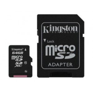 Kingston Digital 64 GB microSD Class 10 UHS-1 Memory Card 30MB/s with Adapter (SDCX10/64GB)