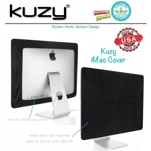 """Kuzy - BLACK Screen Cover for iMac 27-inch Dust Cover Display Protector (Models: A1312 and A1419) - Black 27"""""""