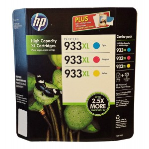 HP D8J65BN 933XL Combo 3-Color high capacity XL Cartridges (1 XL Cyan,1 XL Magenta,1 XL Yellow)