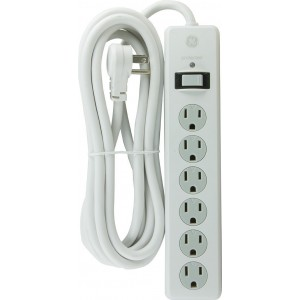 GE 14092 6-Outlet General Purpose Surge Protector, 800 Joules, 10ft Cord, White, with Twist to Lock Safety Covers and Connected Equipment Warranty