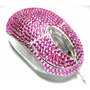 ECO-FUSED  Eco-Fused USB Optical Computer Mouse with Crystal Bling Rhinestone design with Retail Packaging (P