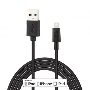 Lightning Cable, Apple Certified MFI EZOPower Lightning 8-Pin 6 Feet USB Sync and Charge Data Cable - Black