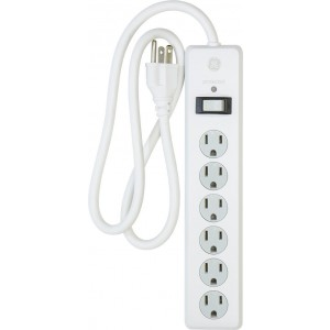 GE 14010 6-Outlet General Purpose Surge Protector, 800 Joules, 3 ft Cord, White, with Twist to Lock Safety Covers and Connected Equipment Warranty