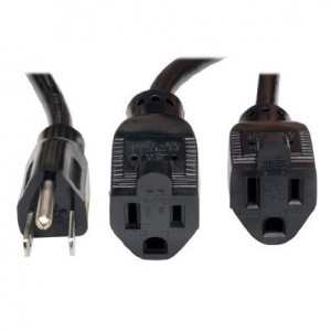 Tripp Lite Power Extension Cord Y Splitter Cable 13A, 16AWG (NEMA 5-15P to 2x NEMA 5-15R) 18-in.(P024-18N-13A-2R)