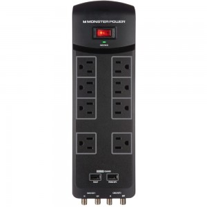 Monster Core Power 800 AVU 8 Outlet Surge Protector w/USB Charging