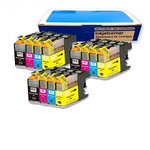 Inkjetcorner 12 Pack Compatible Ink Value Combo for Brother LC103 LC101 LC103XL BLC103 MFC-J285DW MFC-J470DW MFC-J475DW MFC-J650DW MFC-J870DW MFC-J875DW (3 Black 3 Cyan 3 Magenta 3 Yellow) LC103BK LC103C LC103M CL103Y (Latest Chip Installed)