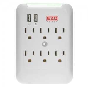 EZOPower 6 AC Outlet Wall Mount Plate Surge Charge Protector with 2 USB Charger Ports 2.4A (UL Certified)
