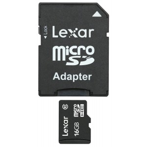 Lexar microSDHC 16GB Mobile Flash Card / With Adapter LSDMI16GABNLC10A
