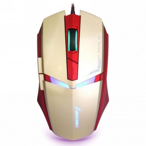 Qisan(TM) USB Wired 1600 DPI Adjustable LED Cool Gaming Mouse(Golden)