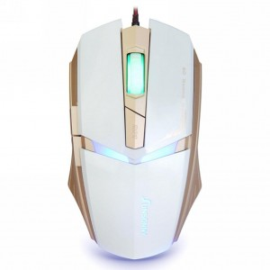 Qisan USB Wired 1600 DPI Adjustable LED Cool Gaming Mouse(White)