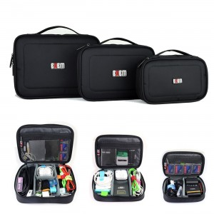 BUBM Waterproof 3pcs/set Portable Electronic Accessories Travel Organizer Case,Black