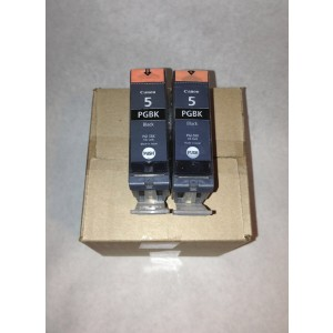 Brand New Genuine Canon PGI-5 Black 2-Pack Pigment Black Ink Tanks in Factory Shrink Wrap and Easy Open Bulk Packaging! No Retail Boxes or Plastic Packaging!