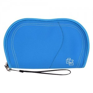Case Star  Neoprene Slim Travel Organizer Carrying Zipper Bag for Computer Electronics Cell Phone Essentials (MP3, Mouse, Charger, Adapter, Cord, Connector) (Blue Color)