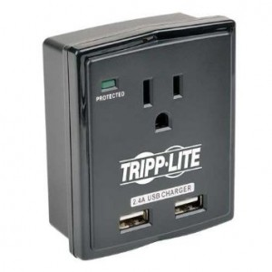Tripp Lite 1 Outlet Portable Surge Protector, Dual Port USB Charger (2.4A total), Wall Mount Direct Plug-in, and $5K INSURANCE (SK10USB)