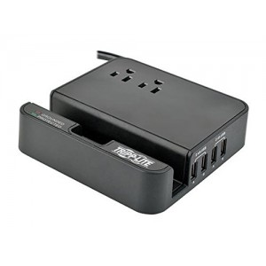 Tripp Lite 2 Outlet Surge Protector with 4 USB Charging Ports (4.8A total), 6ft Cord, and $50K INSURANCE (TLP26USBB)