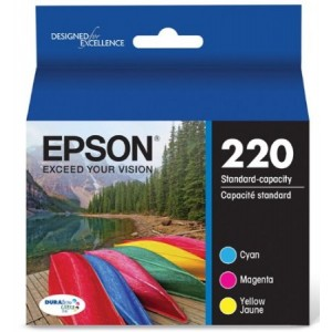 Epson Durabrite Ultra 220 Color Ink Cartridges, Cyan/ Magenta/Yellow, Pack 0f 3 (T220520)
