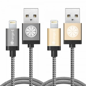 iOrange-E Lightning Cable, Apple Certified 2 Pack 3.3ft Lightning to USB and Data Sync Cable for iPhone 6 6S Plus 5S 5C 5, iPad Air, iPad Pro, iPad Mini 4, and iPod Nano 7th Gen, Golden + Grey