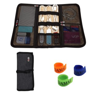 BUBM Portable Universal Wrap Electronics Accessories Travel Organizer / Hard Drive Bag / Cable Stable with Cable Tie (Medium-Black)