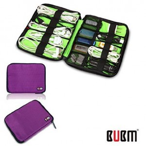 BUBM Fashion Cable Organizer Bag Travel Case Digital Storage Bag with Zipper/ Healthcare and Grooming Kit (Dis Purple-small)