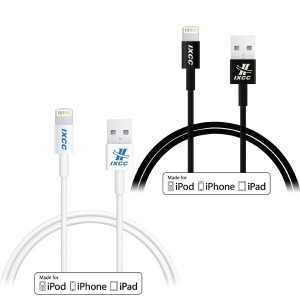 iXCC Element Series 1ft Apple MFi Certified Lightning 8pin to USB Charge and Sync Cable for iPhone SE/5/6/6s/7/Plus/iPad Mini/Air/Pro - Black and White