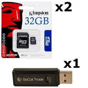 2 PACK - Kingston 32GB MicroSD HC Class 4 TF MicroSDHC TransFlash Memory Card SDC32/32GB 32G 32 GB GIGS (M.A32.RTx2.550) LOT OF 2 with USB SoCal Trade© SCT Dual Slot MicroSD and SD Memory Card Reader - Retail Packaging