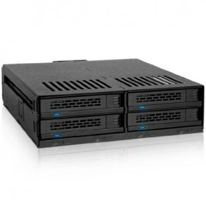 """ICY DOCK MB324SP-B 4 Bay 2.5 inch SAS / SATA HDD and SSD Hot Swap Mobile Rack / Cage for 5.25"""" Drive Bay - Comparable to Tray-Less Design"""