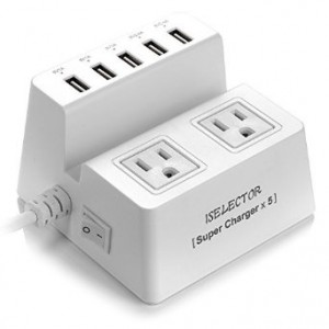 Iselector 40W 5-Port Universal USB Charger 2-Outlet Power Strip Surge with 5 Feet Cord