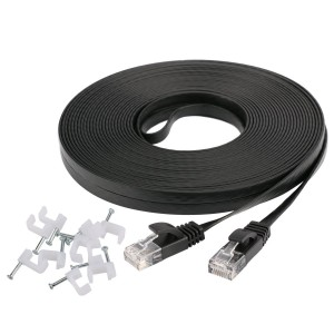 Ethernet Cable Cat6 50 Ft Black Flat with Cable Clips, jadaol cat 6 Ethernet Rj45 Patch Cable, slim Network Cable, thin internet computer Cable - 50 Feet Black(15 Meters)