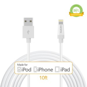 Kinps Apple MFi Certified Lightning to USB Cable 10ft/3m iPhone Charger Cord Super Long for iPhone 7 / 7 Plus / 6S / 6S Plus / 6 / 6 Plus / SE / 5S / 5, iPad Pro / Air / Mini (White, 1 Pack)