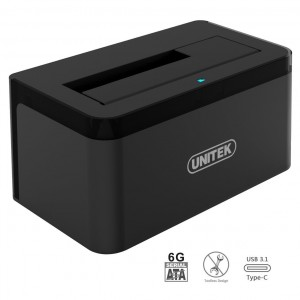 """UNITEK USB 3.1 Type C (USB-C) to SATA Gen 2 (10Gbps) Single Bay External Hard Drive Docking Station for 2.5""""/3.5"""" Inch SATA SSD HDD, Support UASP and 8TB, Includes USB-A cable for USB 3.0 and 2.0 Systems"""