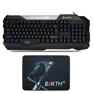 BAKTH  BAKTH New Design Blue Luminous Radium Carved Characters Backlit Keyboard + BAKTH Customized Mouse