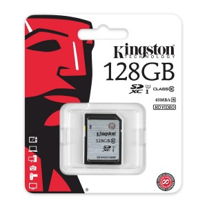 Kingston Digital SDXC Class 10 UHS-I 45R/10W Flash Memory Card (SD10VG2/128GB)