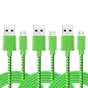iSeeker Bundle of 3 Durable 6.6ft/2m Nylon Braided Tangle-Free Micro USB Cable for Android, Samsung, HTC, Motorola, Nokia and More(Green)