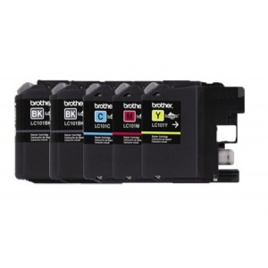 Genuine Brother LC101 (LC-101) Color (Bk/C/M/Y) Ink Cartridge 5-Pack (2xLC101BK, LC101C, LC101M, LC101Y) for Brother MFCJ470DW MFCJ475DW MFCJ650DW MFCJ870DW MFCJ875DW