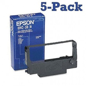 5-Pack Epson ERC-38B Black Fabric Ribbon for use with Epson TM-U200A, TM-U200B, TM-U200D, TM-300A, TM-300C, TM-300D, TM-U370 and TM-U375.