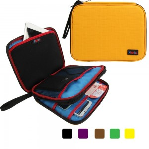 Khanka Organizer Double Compartment Travel Case Bag For Apple Ipad Mini 16G,Samsung Tab S 8.4-Inch/Tab 4 (7-Inch),External Hard Drive,USB Cable,Power Bank,Passport Boarding Pass Ticket (L-Yellow))