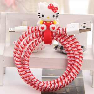 Tospania DIY Cartoon Style Spiral Wire Protectors for Apple Lightning Cables/Samsung and other Tablet Charging Cables/ Earphone Cords and More (Red Kitty)