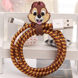 Tospania DIY Cartoon Style Spiral Wire Protectors for Apple Lightning Cables/Samsung and other Tablet Charging Cables/ Earphone Cords and More (Squirrel Chip)