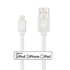 [Apple MFI Certified] epxid Lightning to USB Cable 3.3ft/ 1m with Aluminum Finish and Flat Cable For Apple iPhone 6s, 6 Plus 5s 5c 5, iPad Pro Air 2, iPad mini 4 3 2, iPod touch 5 6/ nano 7(White)